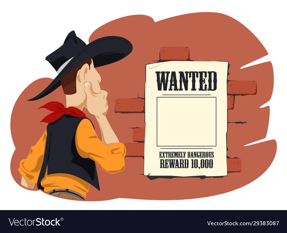 Wild west world cowboy next to wanted poster