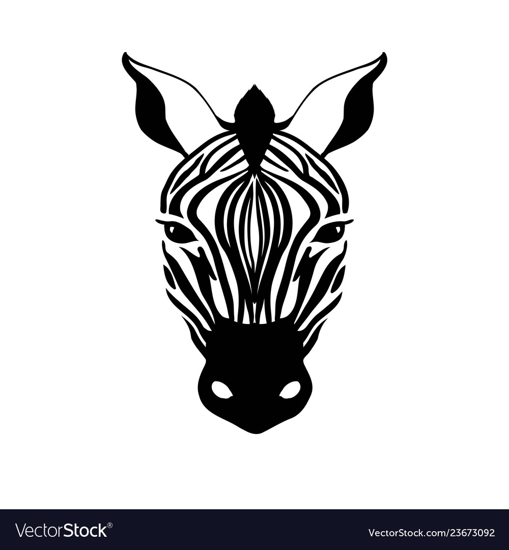 Abstract zebra head on a white background