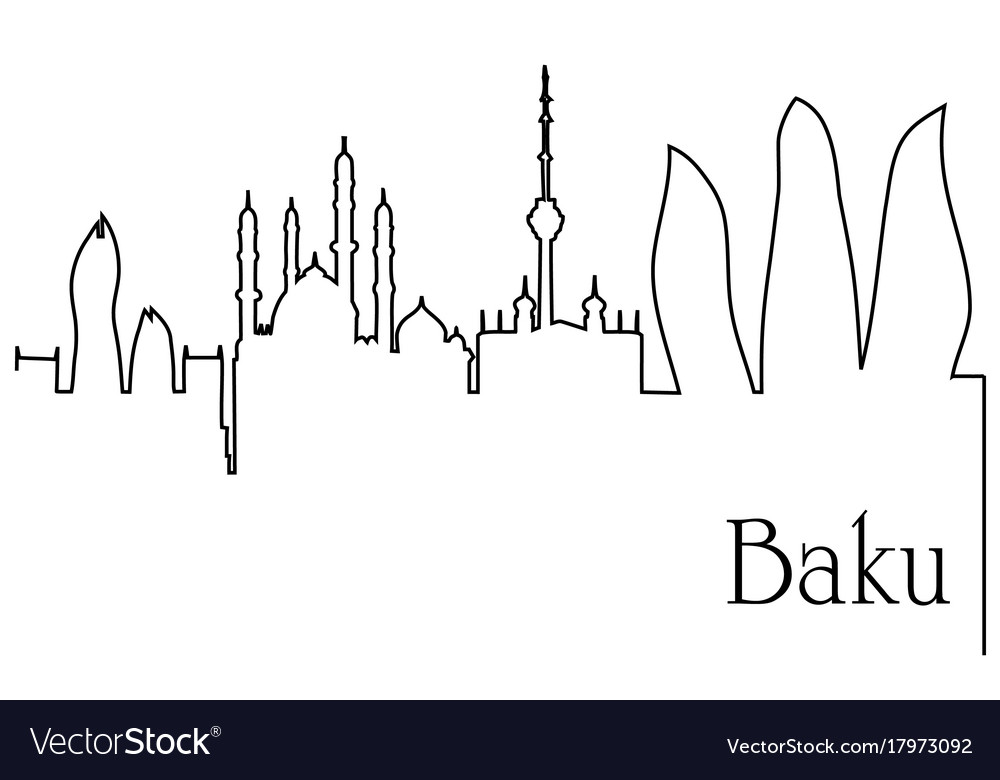 Baku city one line drawing background vector