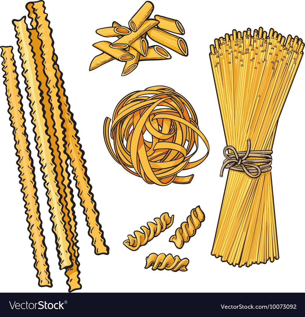 Big collection of italian pasta sketch style