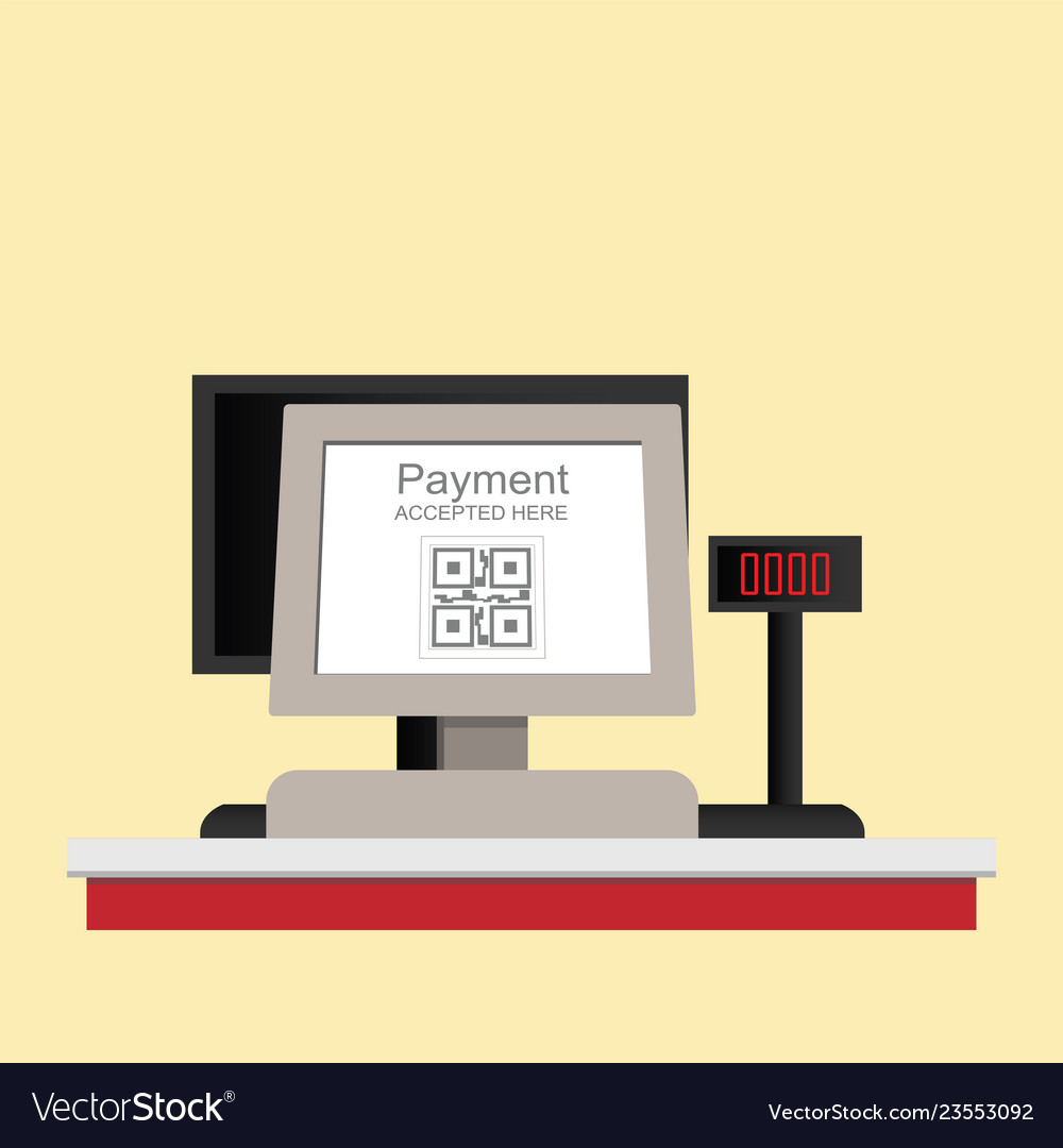 Cash register electronic qr code payment isolated