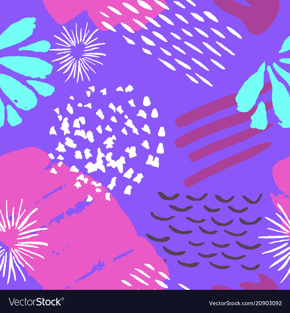Color ink brushes grunge seamless pattern