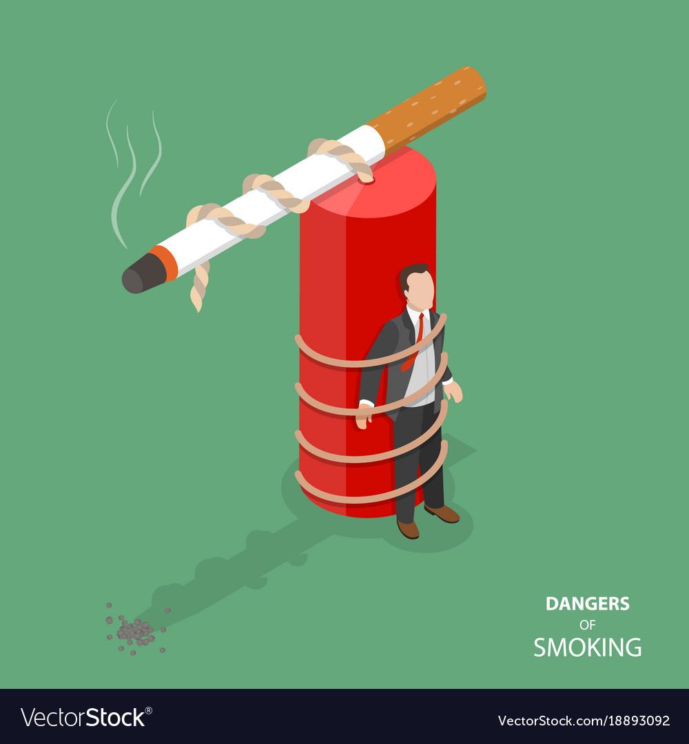 Danger of smoking flat isometric concept