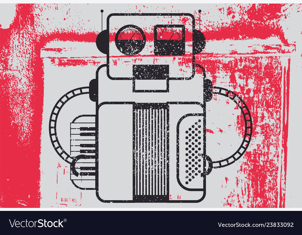 Grunge poster with retro robot musician