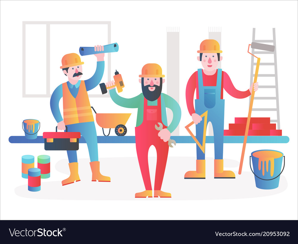 Home workers characters team friendly