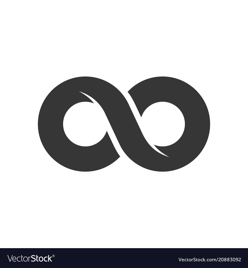 Infinity sign icon on white background