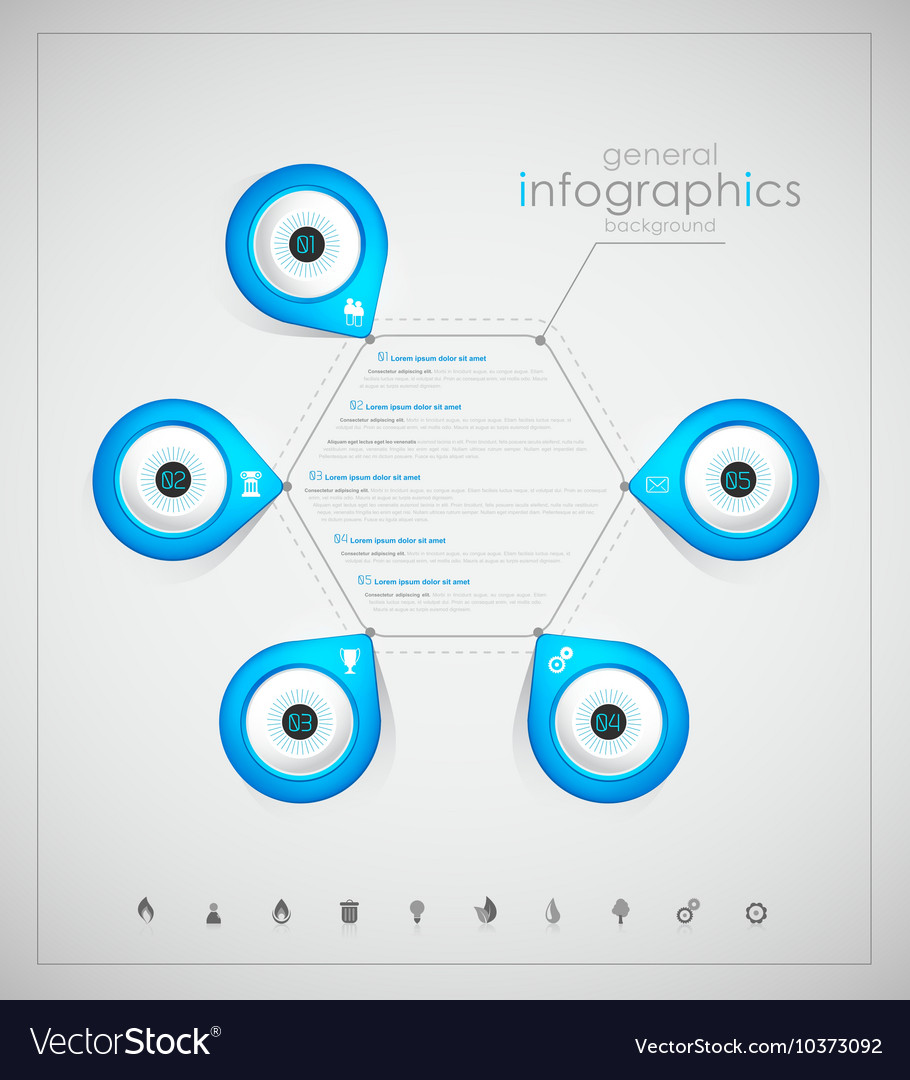 Infographic overview design template with blue