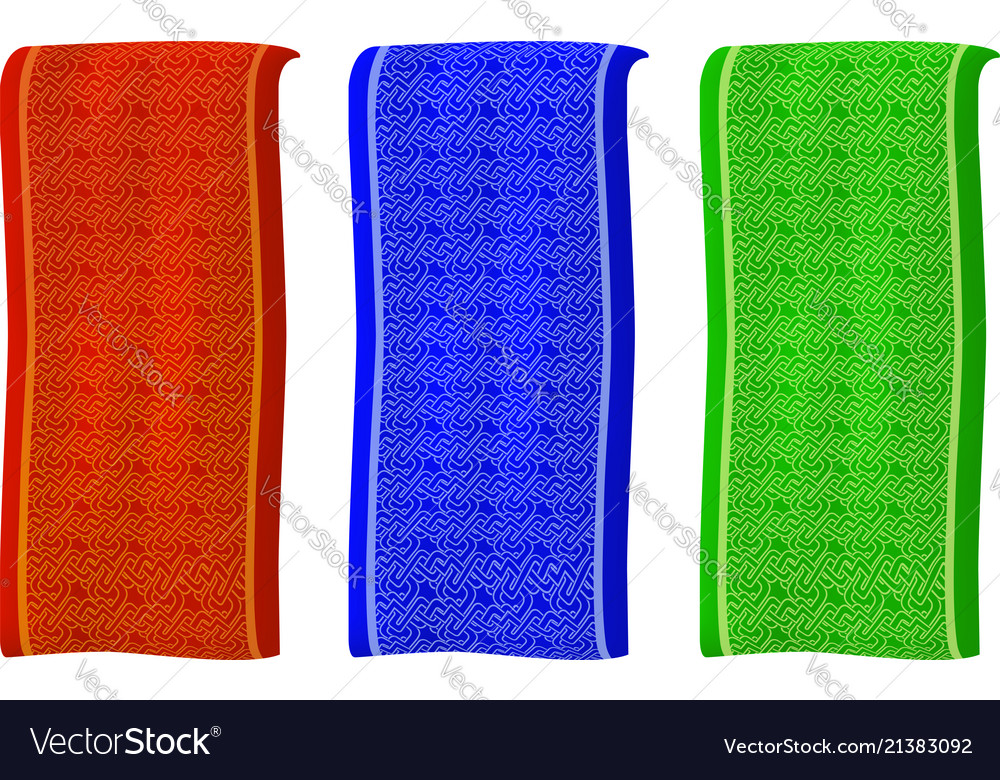 Isolated different colored banners with pattern