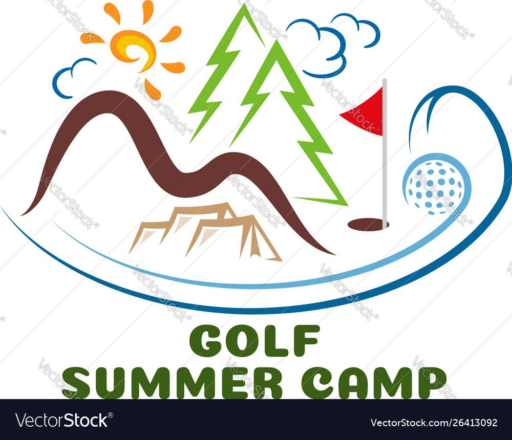 Logo golf summar camp fun cartoon