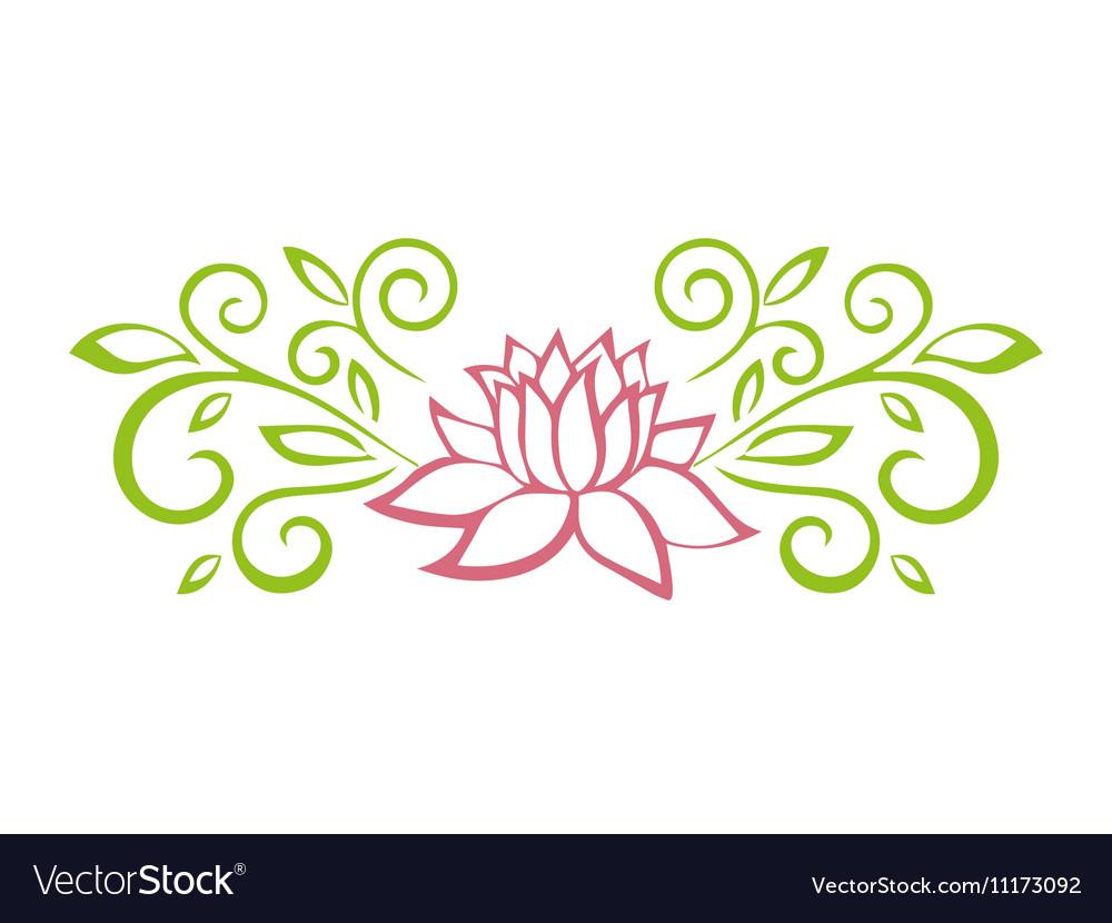 Lotus sketch plant motif flower design elements vector image mightylinksfo