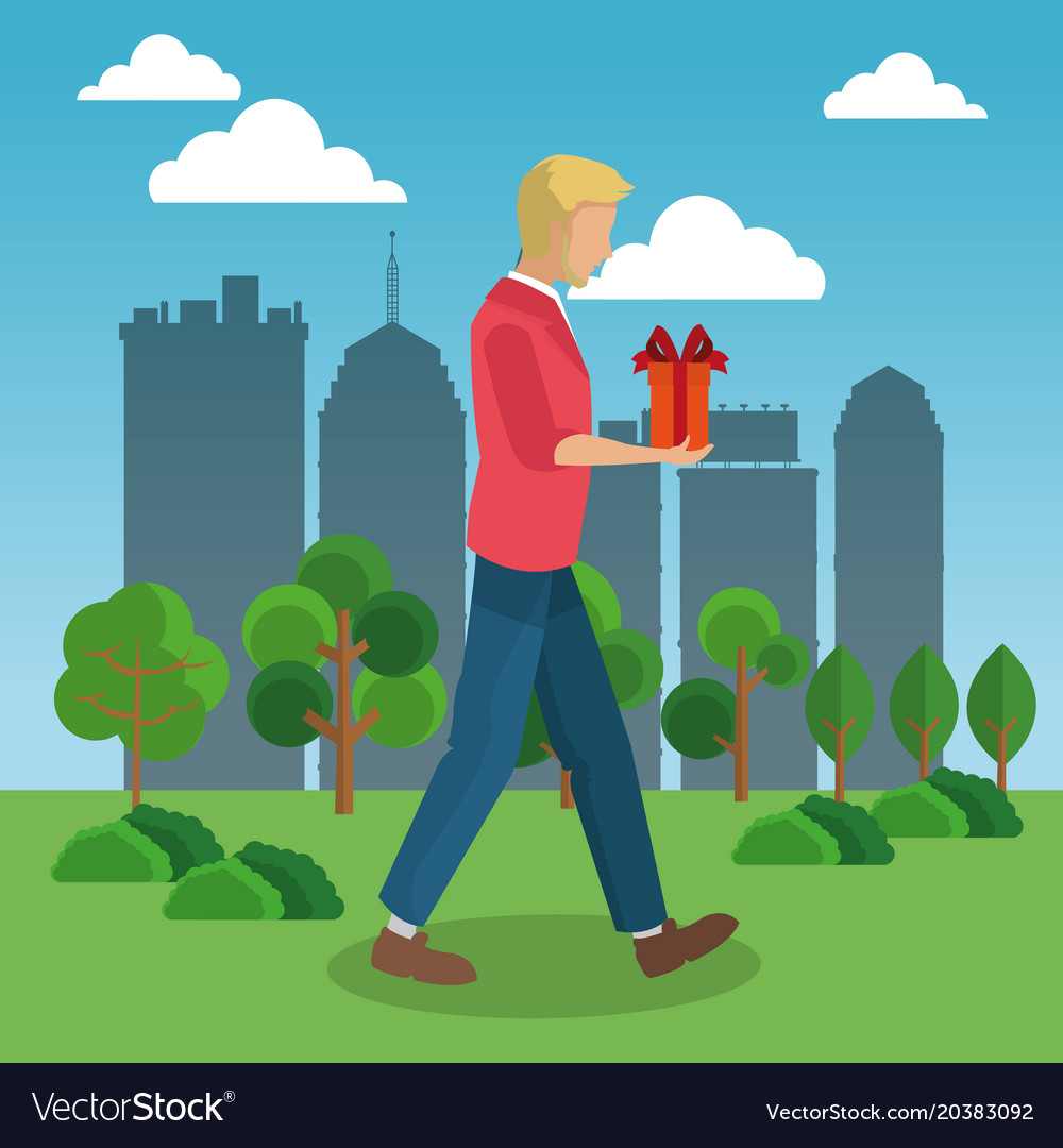 Man walking with gift box vector image
