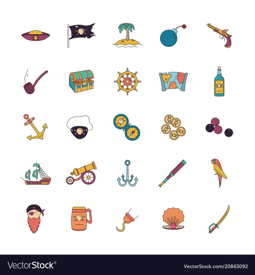 Pirates icons set cartoon style vector image