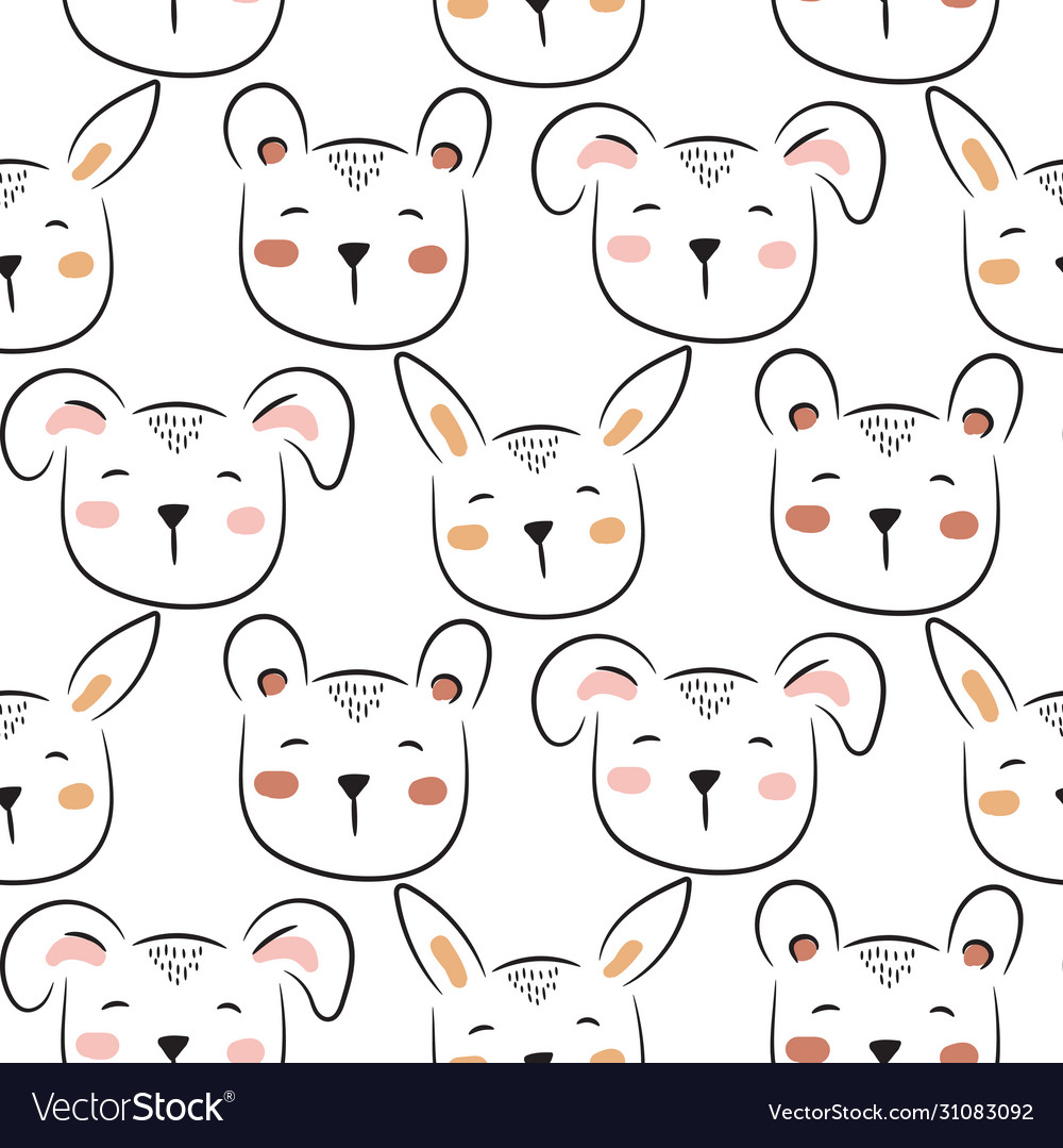 Polar bear cute seamless doodle pattern