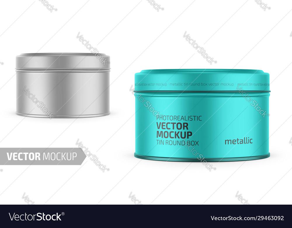 Round metallic tin round box template