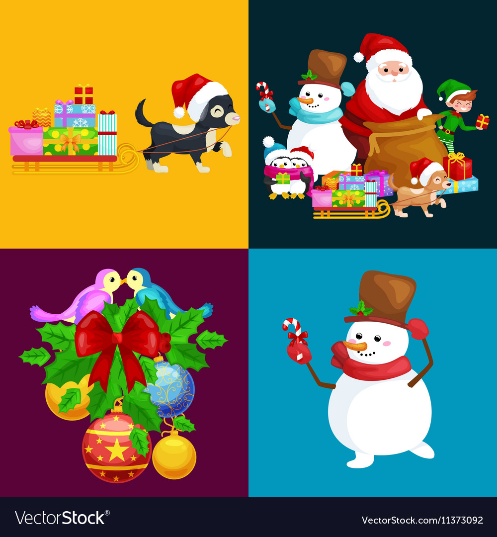 Santa Claus sack full of gifts snowman candy
