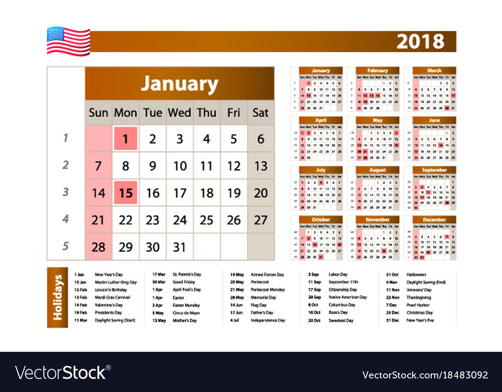 simple calendar 2018 one year at a glance vector image