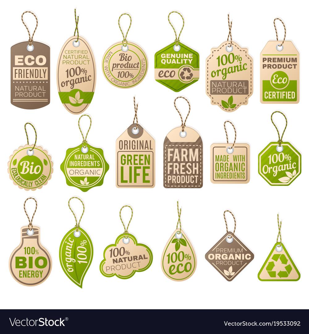 Vintage cardboard eco price tags shop organic bio