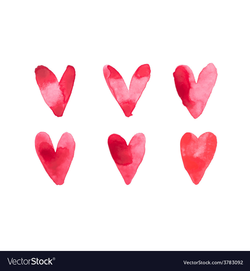 Watercolor aquarelle hand drawn red heart love art