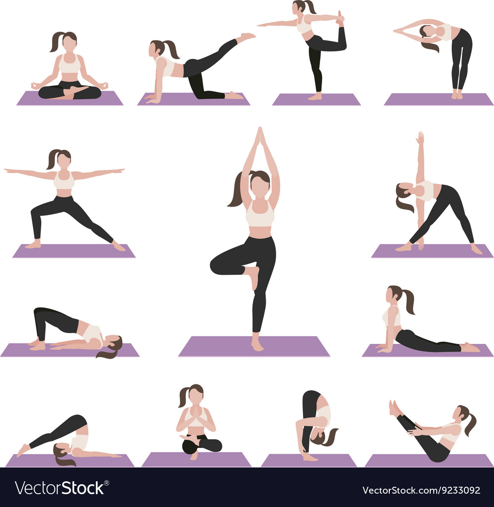 Yoga Postures Exercises Set Royalty Free Vector Image