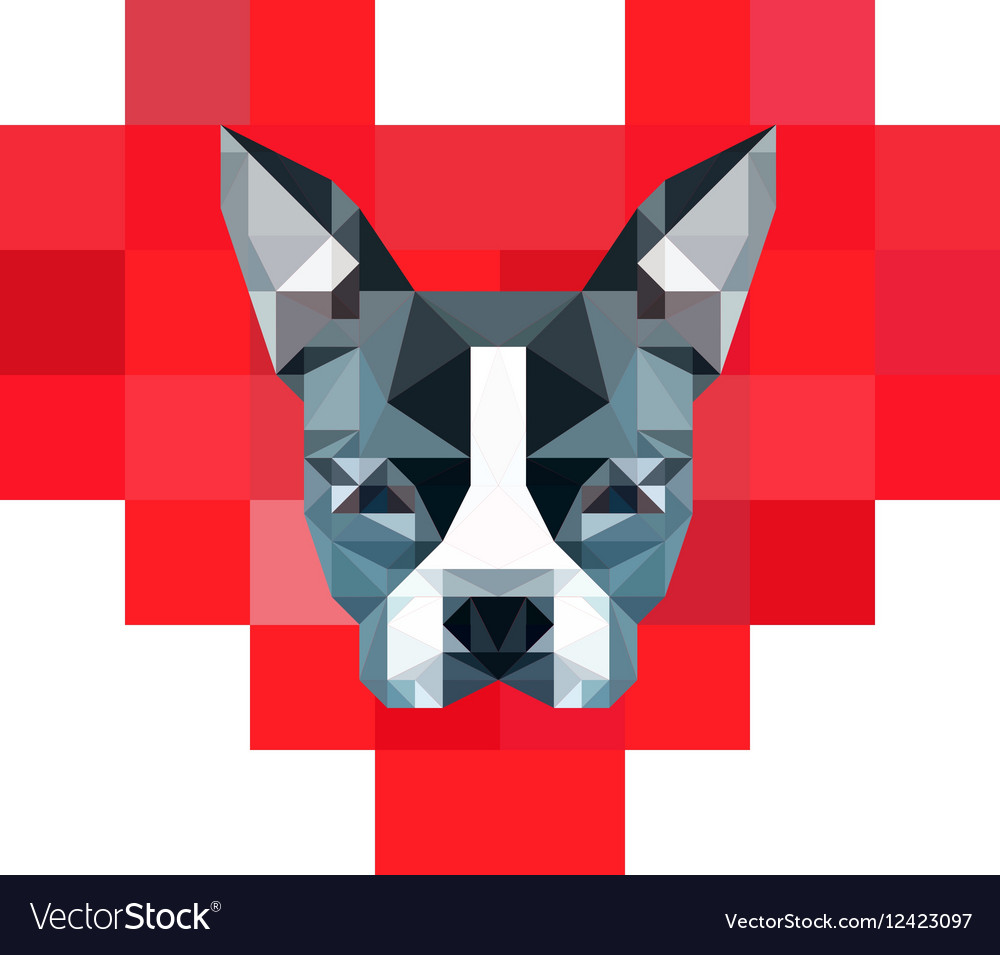8-Bit Pixelated Heart with Low-Poly Boston Terrier