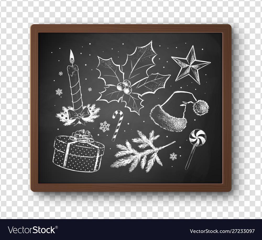 Black and white chalked christmas set