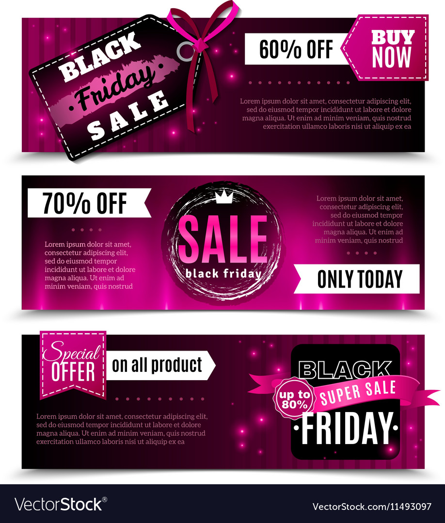 48e6075336 Black Friday Sale Horizontal Banners Royalty Free Vector