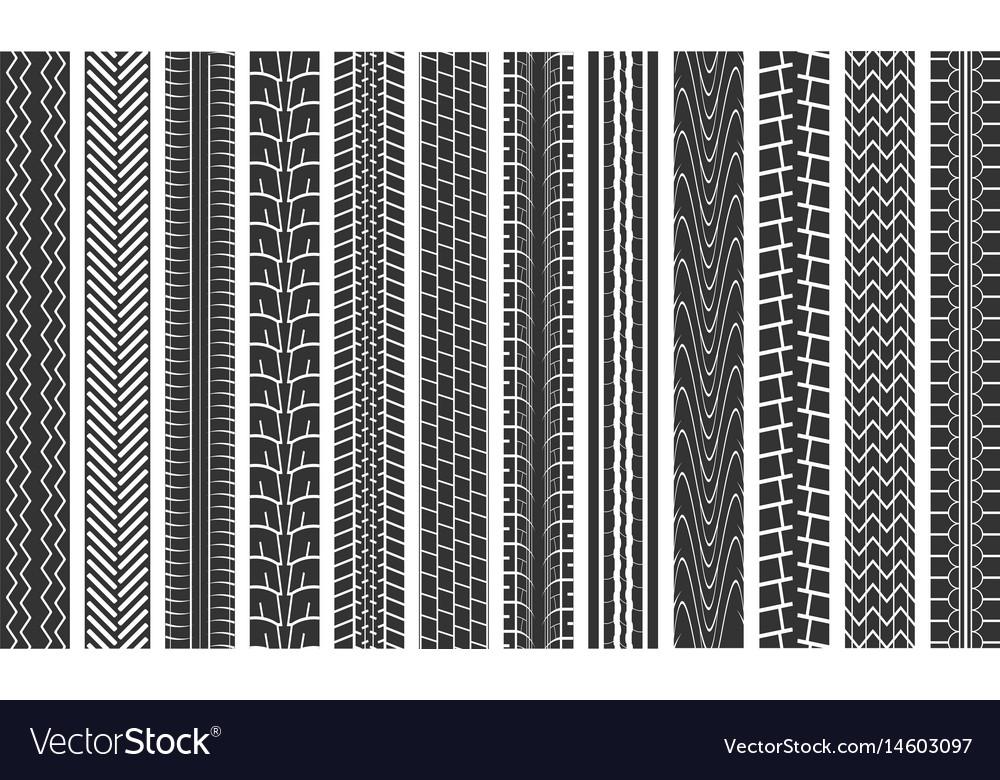 Black tire tracks seamless pattern background