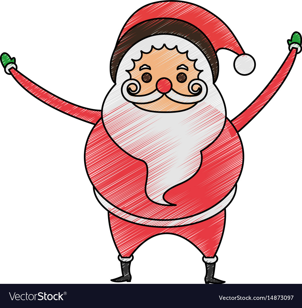 color pencil cartoon full body fat santa claus vector image