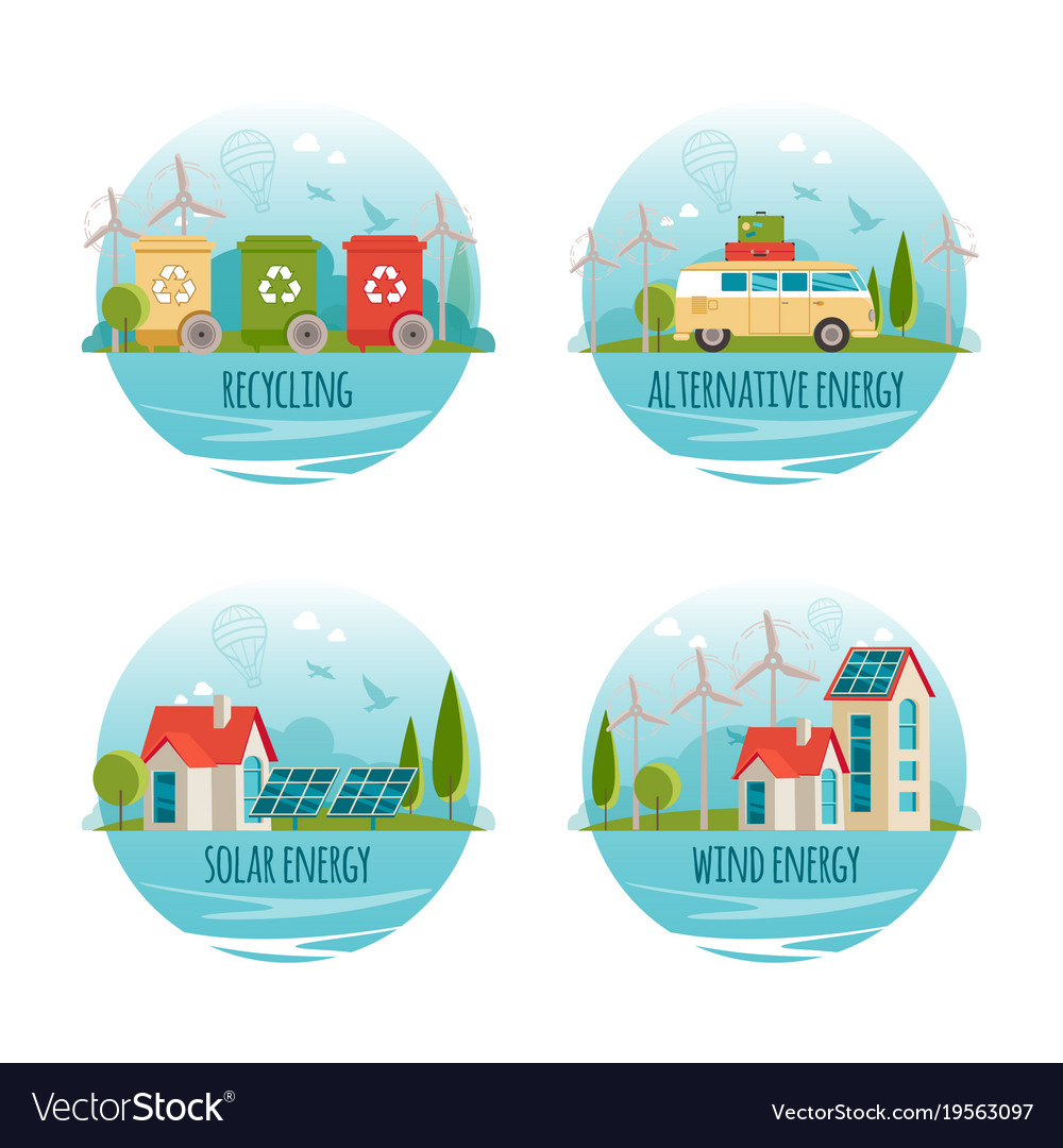 Ecology alternative energy green technology vector image