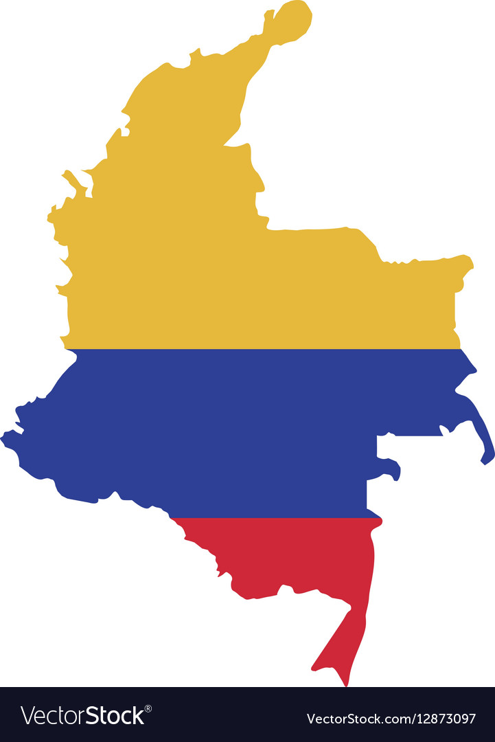 map with colors colombian flag royalty free vector image