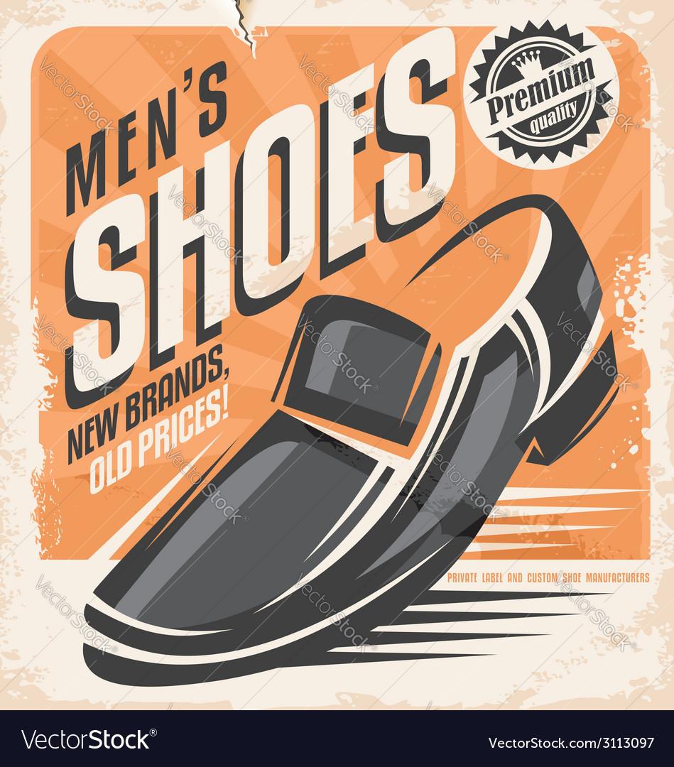 Men shoes retro poster design concept