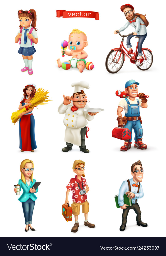 People 3d set cook manager student tourist