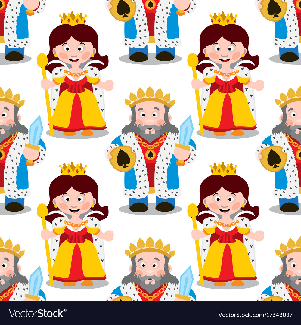 Seamless pattern with cartoon king and queen