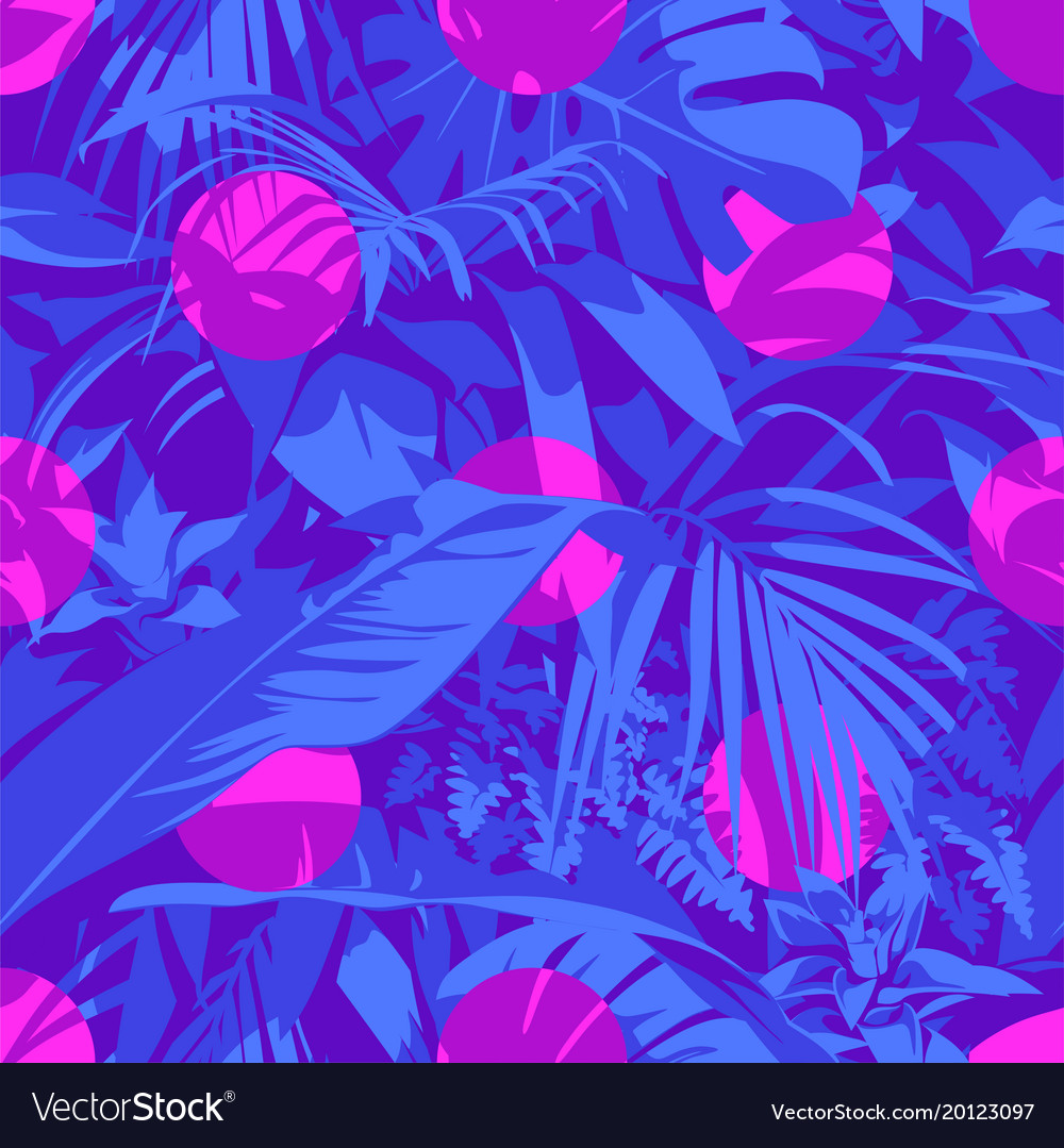 Seamless ultraviolet hawaiian tropical pattern