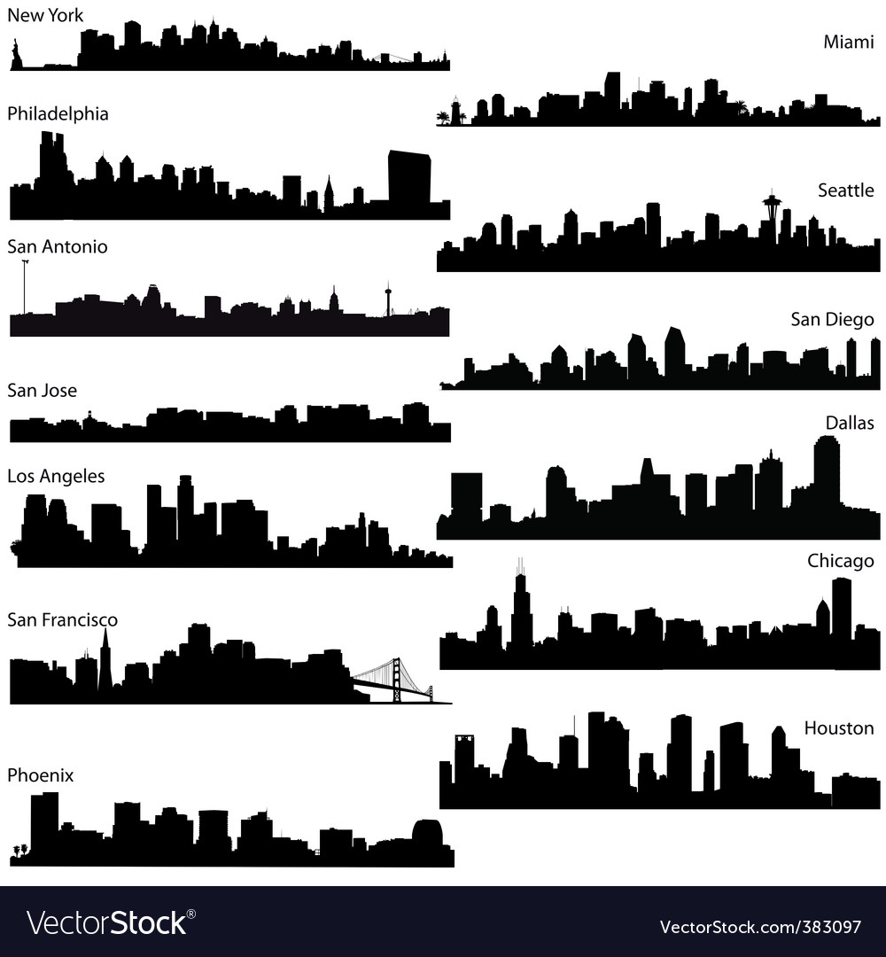 Silhouettes of usa cities