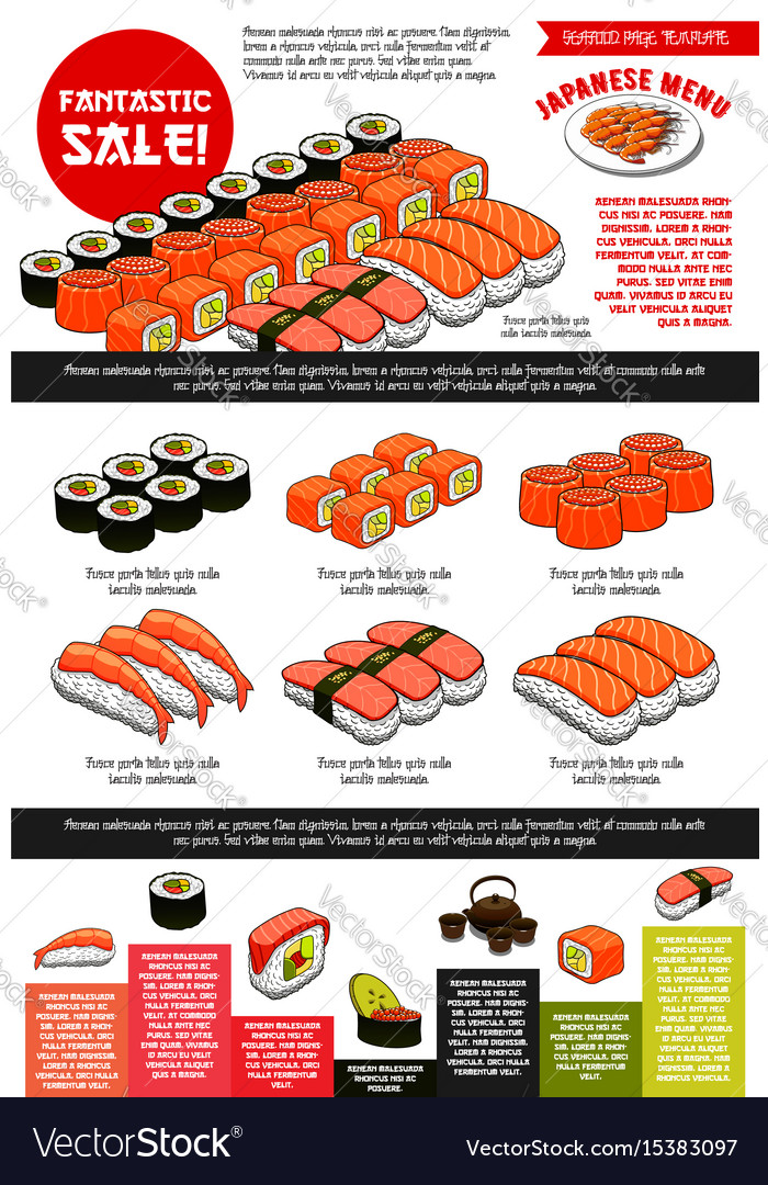 Sushi bar menu template of japanese cuisine