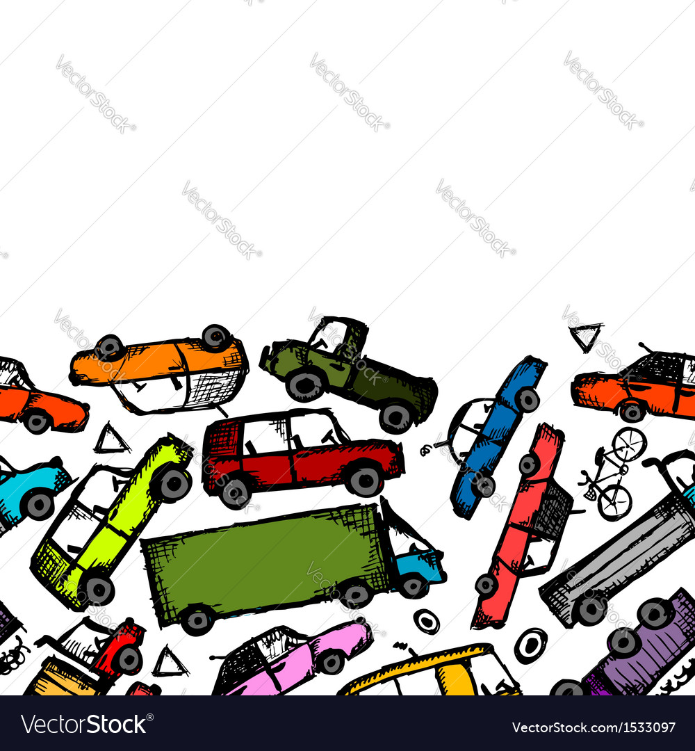 Toy cars collection seamless pattern for your