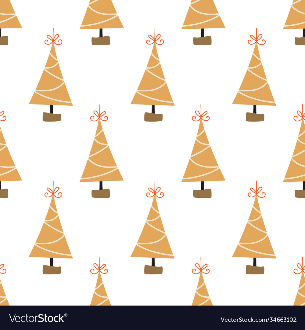 Christmas tree decoration seamless pattern vector