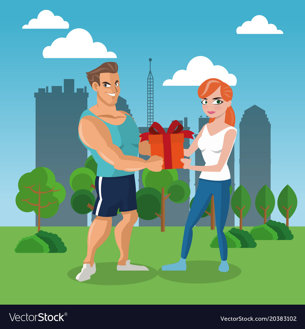 Man giving a gift box to woman vector image