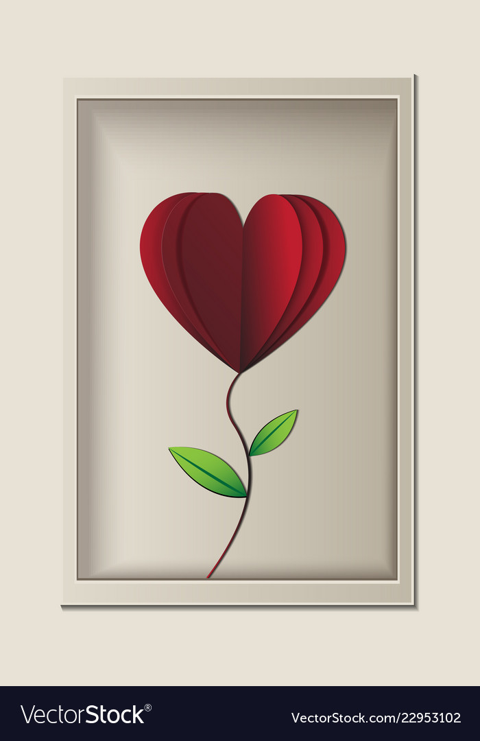 Red rose look like heart shape in the frame