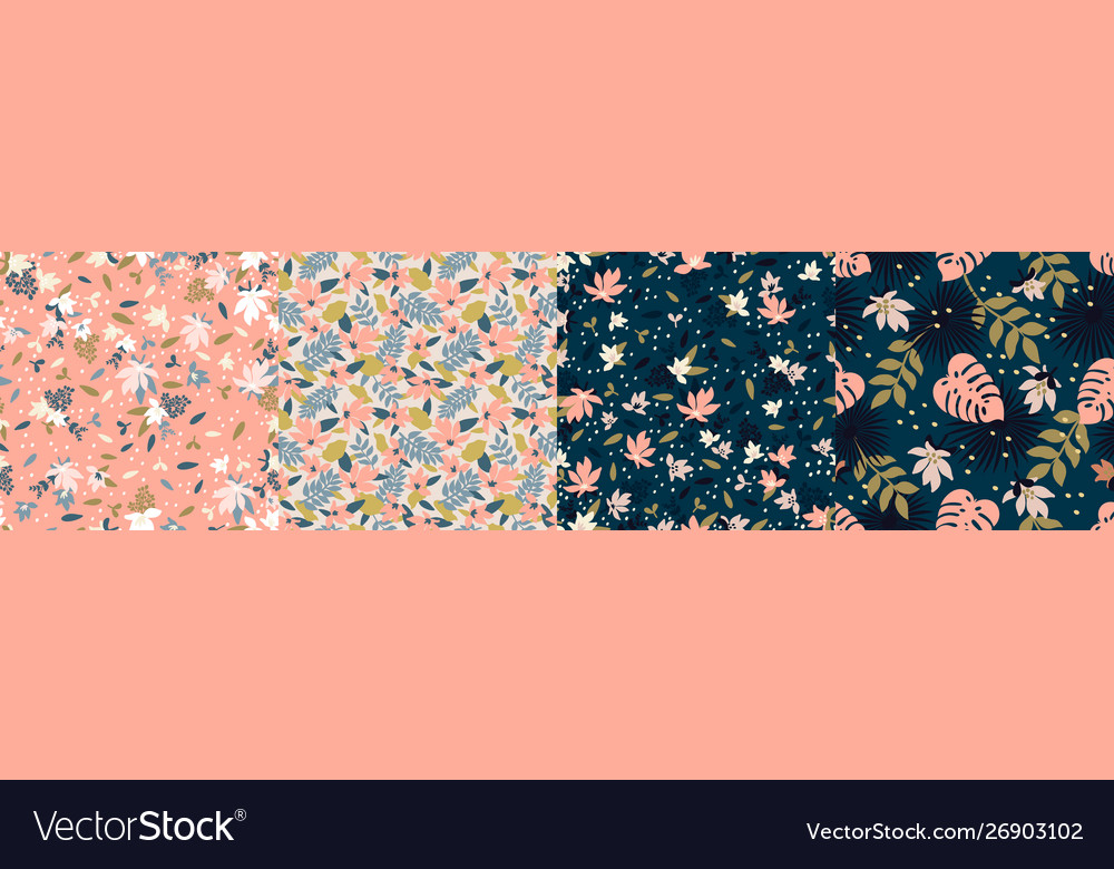 Set trendy seamless patterns with hand drawn