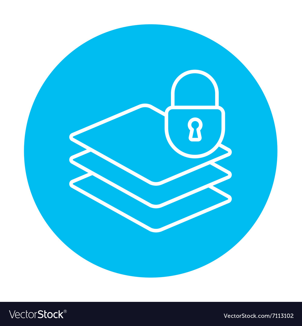 Stack of papers with lock line icon