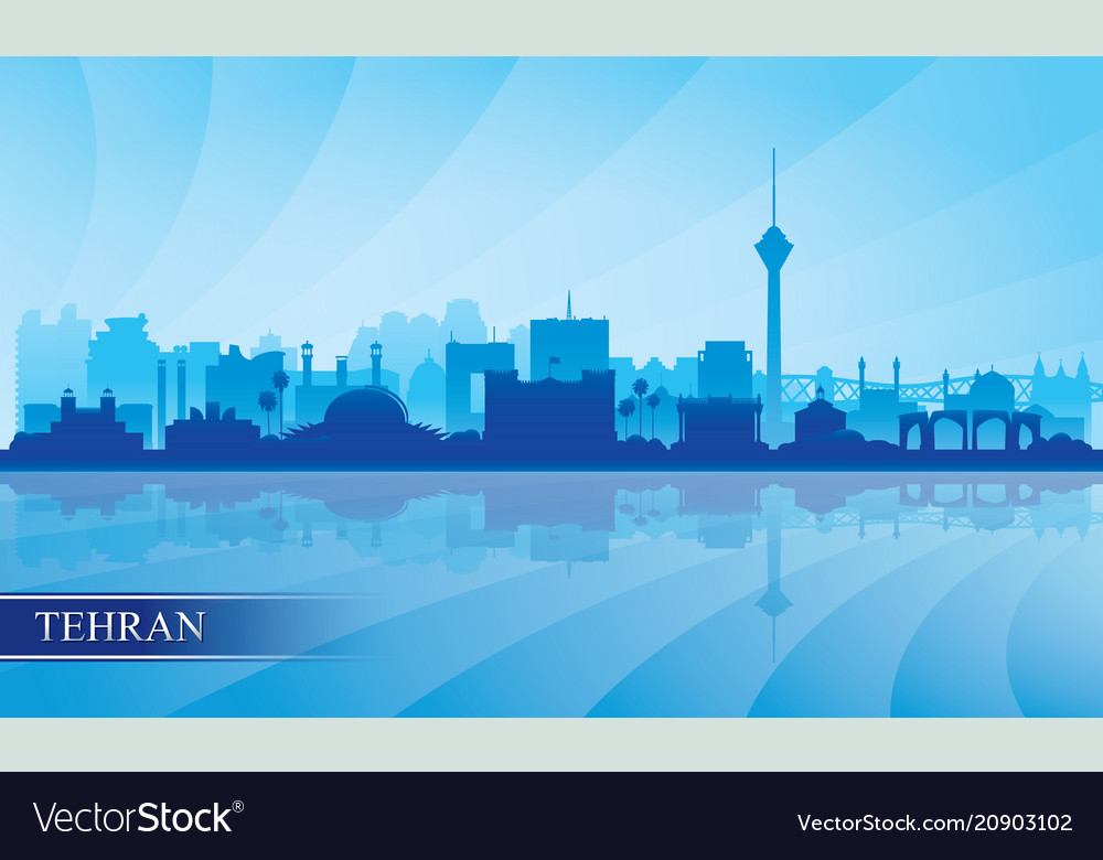 Tehran city skyline silhouette background