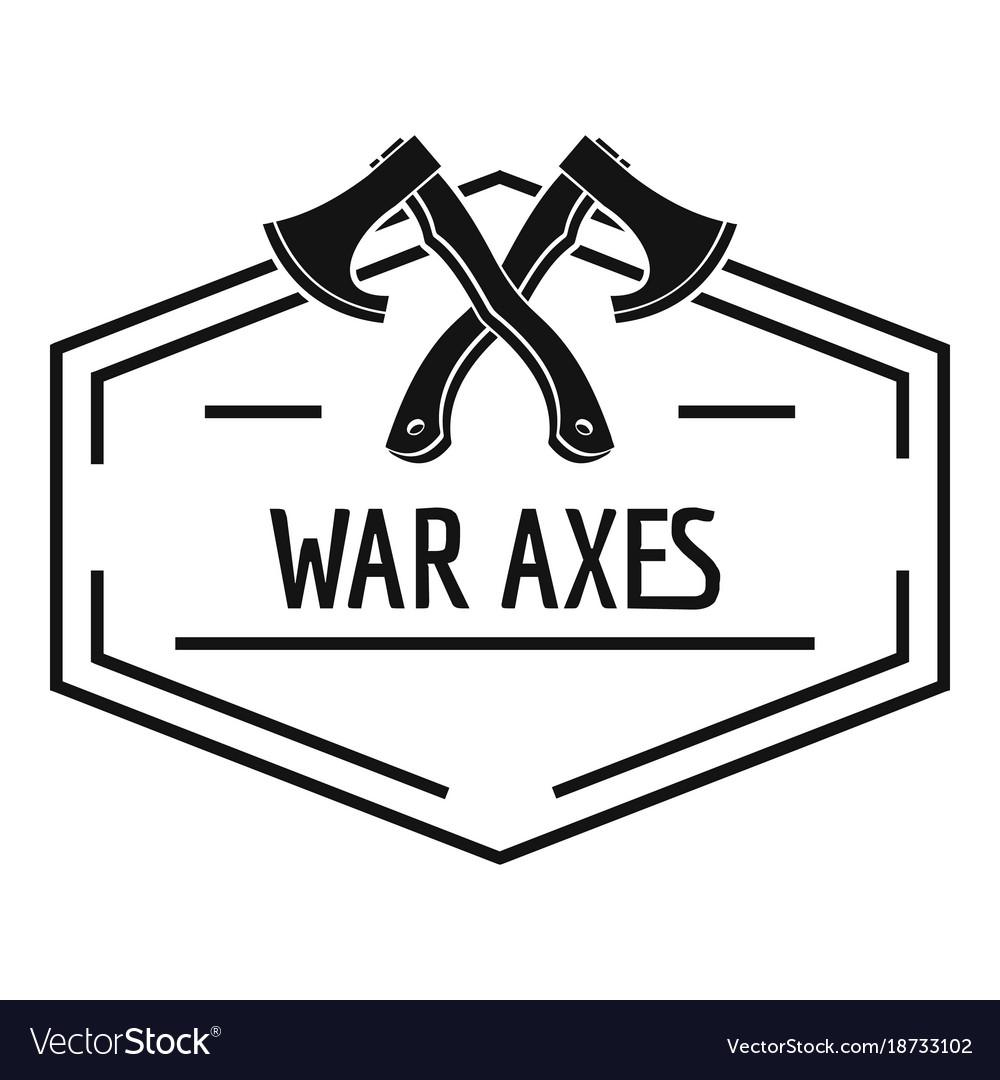 War axe logo simple black style