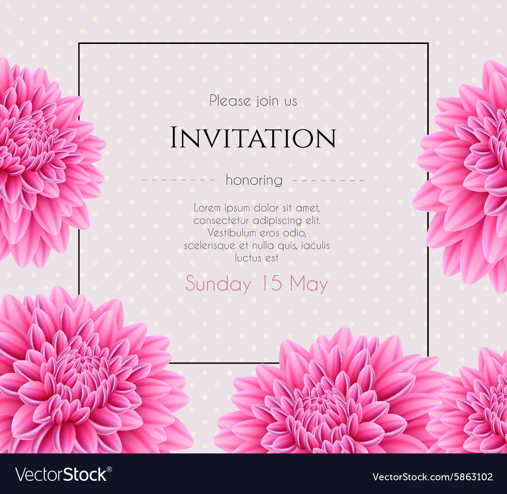 Wedding invitation with beautiful aster flower Vector Image
