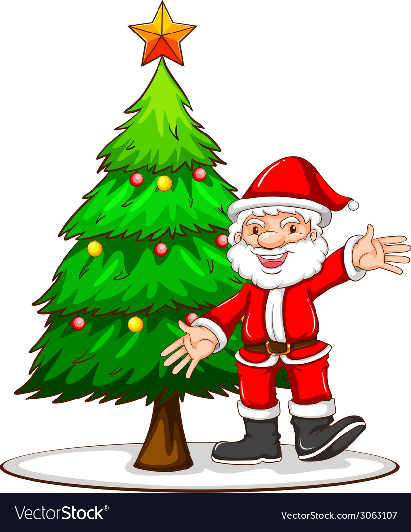 a sketch of a christmas tree with santa claus vector image vectorstock