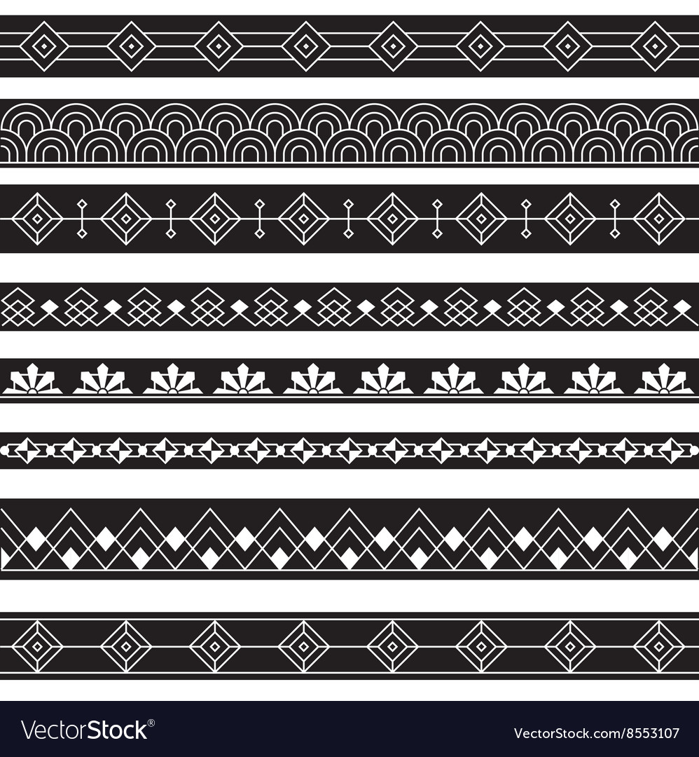 Art Deco Borders Style Line Design variable line vector image