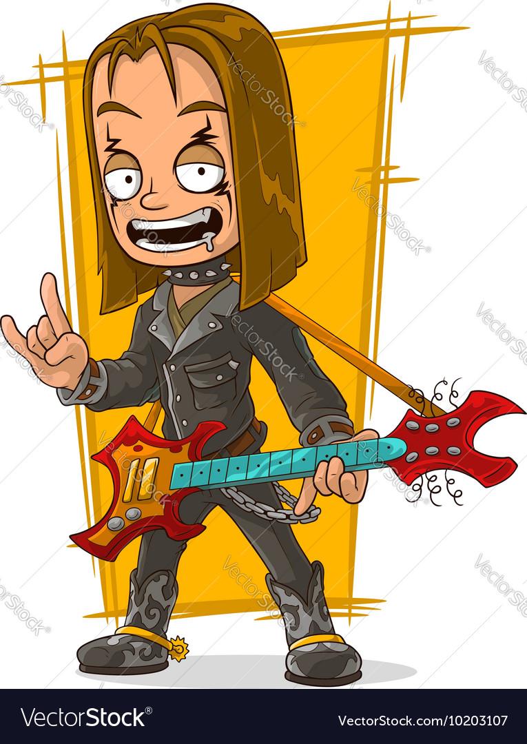 Cartoon long hair rocker in black leather jacket