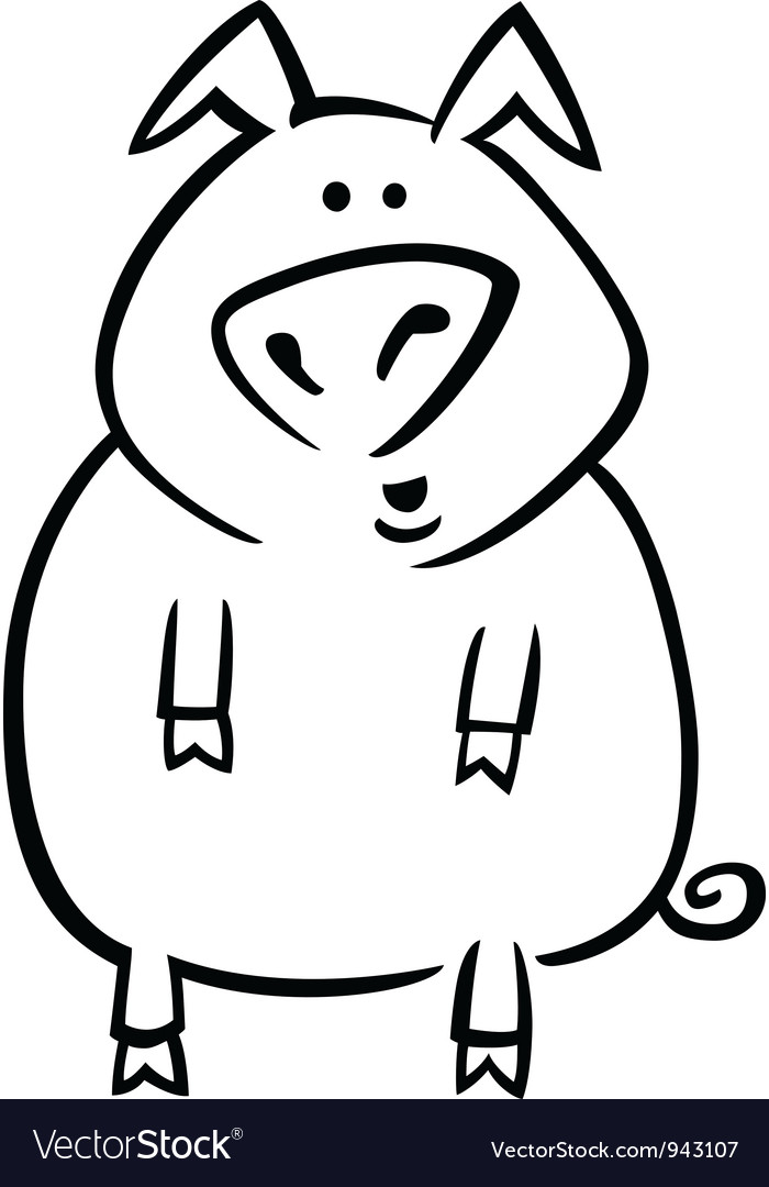 Cartoon pig for coloring page Royalty Free Vector Image