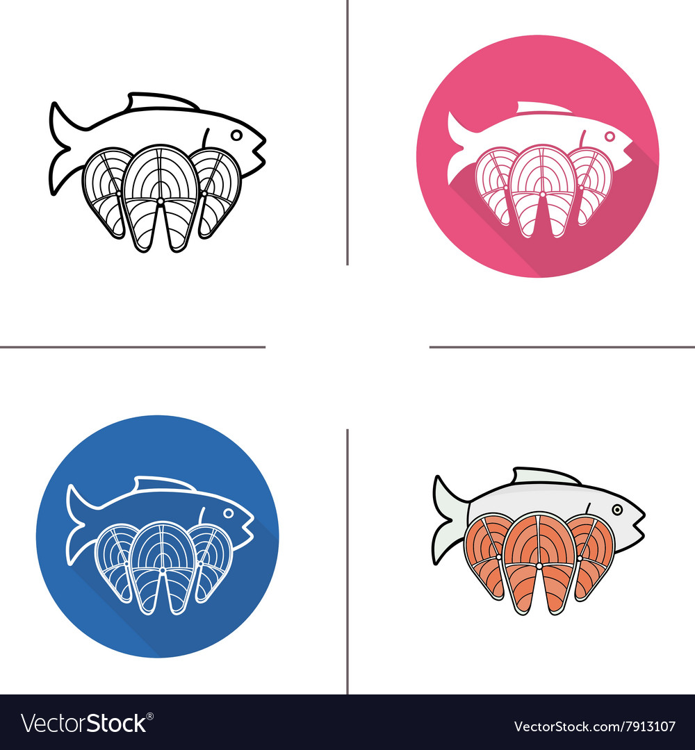 Fish flat design linear and color icons set